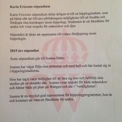 Tilldelad Karin Ericsson-stipendiet